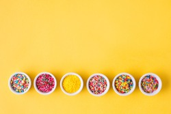 Various sugar sprinkles, Food background with copy space.