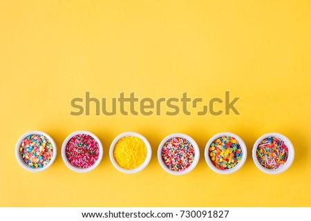 Various sugar sprinkles, Food background with copy space.