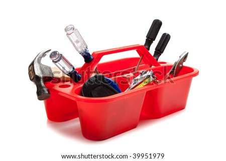 Various tools including a screwdriver, hammer, pliers, hammer and tape measure in a red tray on a white background