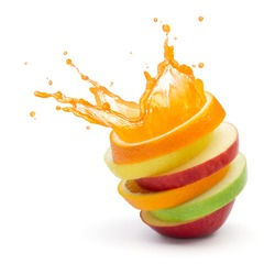 various type of fruit slices stacked with splash, fruit punch concept