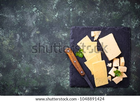 Various type of sliced cheese. Selective focus