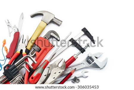 various type of tools on white background with copy space #306035453