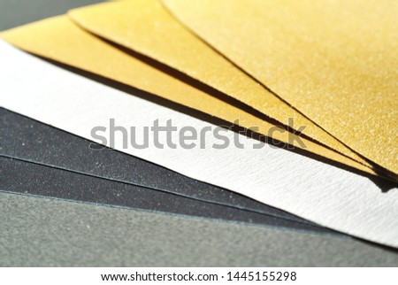 Various types of abrasive paper