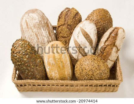 Various types of bread in a basket
