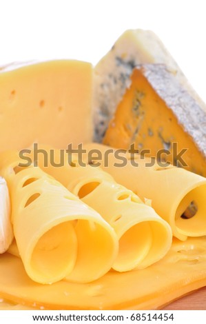 Various types of cheese composition isolated on white background