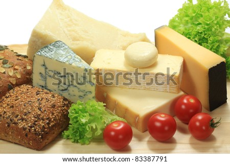 Various types of cheese -  French and Italian. Dairy cuisine delicacies. - stock photo