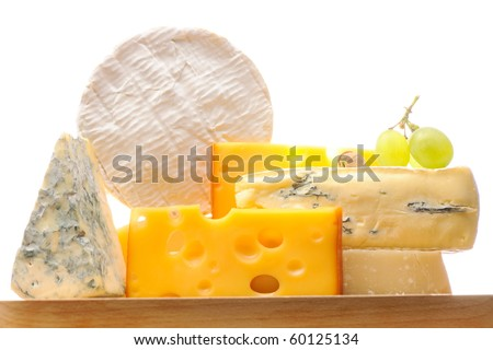 Various types of cheese isolated on white background