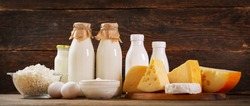 Various types of dairy products : milk, cheese, cottage cheese, eggs, yogurt on a wooden background
