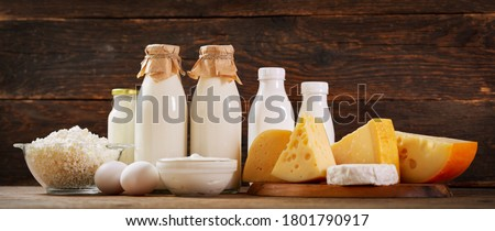 Various types of dairy products : milk, cheese, cottage cheese, eggs, yogurt on a wooden background Foto stock ©