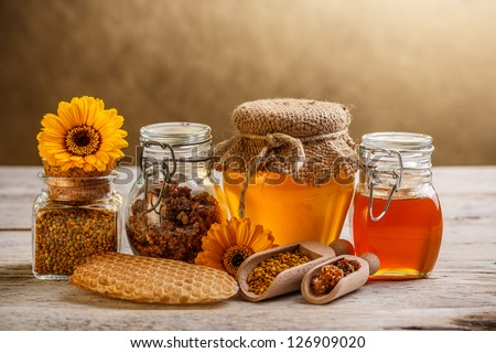 Various types of honey and bee products - stock photo