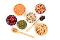 Various types of pulses, shot from the top on a white background. Red kidney, pinto, and black beans, lentils, chickpeas, soybeans, and black-eyed peas