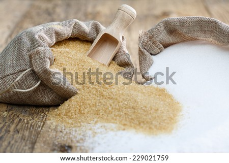 Various types of sugar, brown sugar and white  #229021759