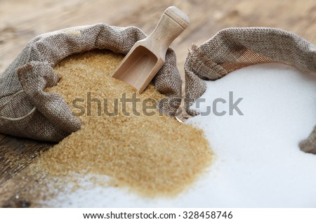 Various types of sugar, brown sugar and white  #328458746