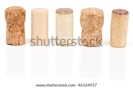 Various types of wine corks isolated on white