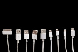 Various USB cable port, old and new, isolated on black background