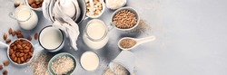 Various vegan plant based milk and ingredients. Dairy free milk substitute drink. Healthy  vegan and vegetarian diet concept. Top view with copy space. Panorama, banner