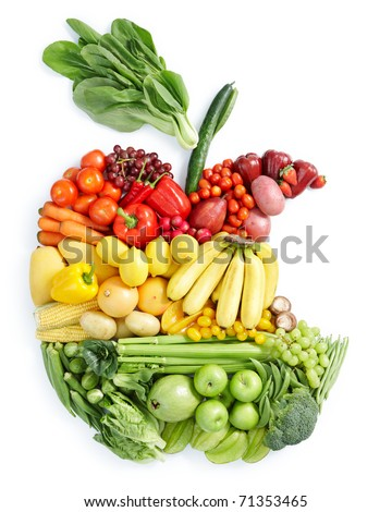 various vegetables and fruits in eaten apple shape