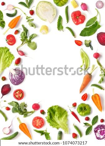 Various vegetables and fruits isolated on white background, top view, flat layout. Concept of healthy eating, food background. Frame of vegetables with space for text. #1074073217