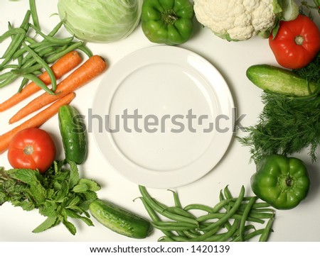 various vegetables and plate