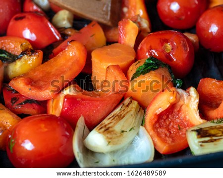 Various vegetables are fried in a grill pan. Healthy food, vegetarian food.