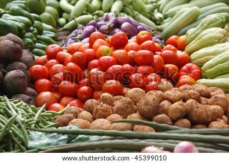Various vegetables at vegetable market. India #45399010