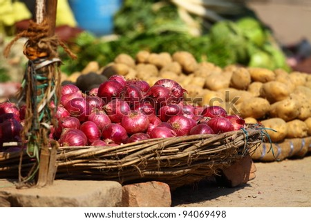 Various vegetables at vegetable market. India