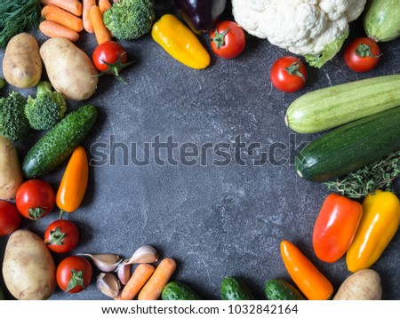 Various vegetables for cooking. Top view. Diet or vegetarian food concept. Copy space. Food background #1032842164