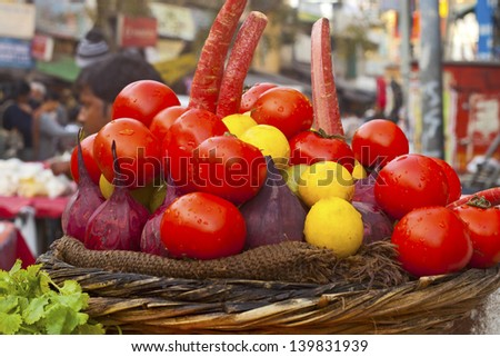 Various vegetables for juice at vegetable market. India