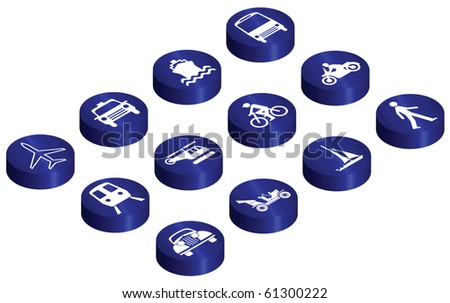 Various vehicle transport related glossy isometric button set