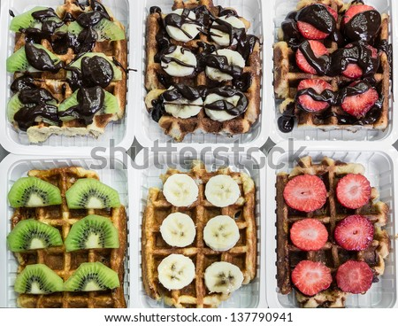 various waffles, brussels, belgium (banana, chocolate, kiwi, strawberry)