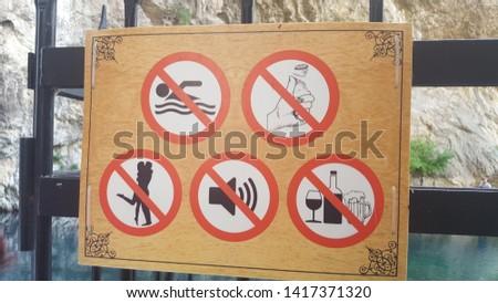 various warning signs and signs