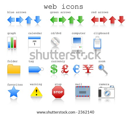 Various web icons in jpg format with internet theme. Vector format available.
