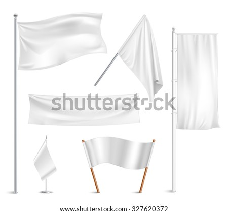 Various white flags and banners pictograms collection with hoisted and half-mast lowered positions abstract  illustration