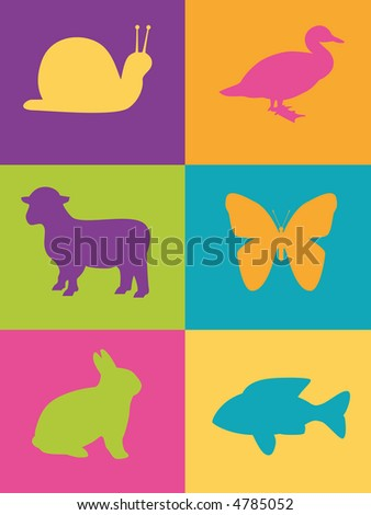 various wildlife symbols on multi-colored block background