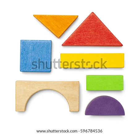 Various Wood Toy Block Pieces and Shapes Isolated on White Background. ストックフォト ©