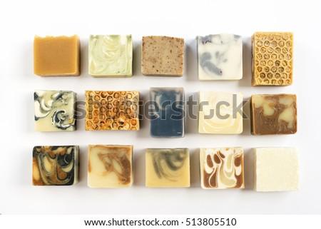 varity of handmade natural cold process soap.