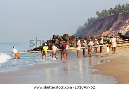 VARKALA, SOUTH INDIA - FEBRUARY 08: Fishermen during local Pongal Festival on February 08, 2010 in Varkala, Kerala State, South India