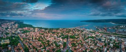 Varna, Bulgaria aerial drone view. Beautiful panorama of seascape and sea garden.