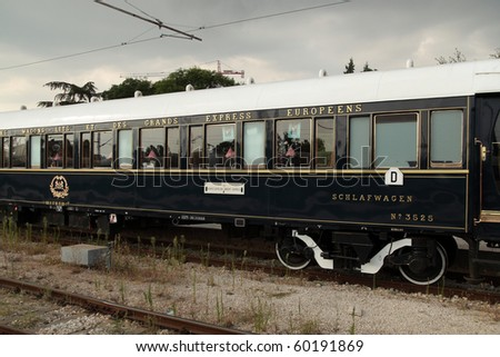 VARNA, BULGARIA - AUGUST 31:The legendary 'Orient Express' arrives at station in Varna at 4:15 pm on August 31, 2010 in Varna, Bulgaria. The luxury train travels  between Paris and Istanbul.