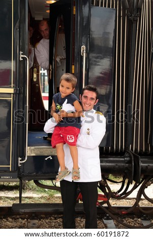 VARNA, BULGARIA - AUGUST 31:The legendary 'Orient Express' arrives at station in Varna at 4:15 pm on August 31, 2010 in Varna, Bulgaria. The luxury train travels  between Paris and Istanbul. - stock photo