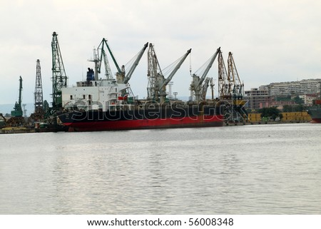 VARNA, BULGARIA - JUNE 25: Cargo ship CICLOPE, sailing under Panamanian flag, moored in Port of Varna and being loaded with wheat on June 25, 2010 in Varna, Bulgaria.