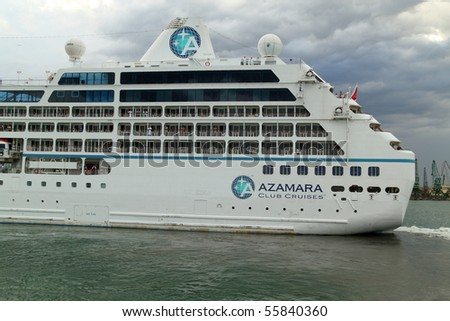 VARNA, BULGARIA - JUNE 22: Passenger ship M/S Azamara Quest sailing under Maltese flag leaves Port of Varna on her way to Odessa, Ukraine on June 22, 2010 in Varna, Bulgaria