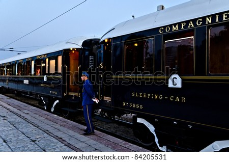 VARNA, BULGARIA - SEPTEMBER 6: The legendary 'Orient Express' is ready to depart from Varna Railway Station on September 6, 2011 in Varna, Bulgaria. The luxury train travels between Paris and Istanbul