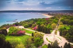 Varna Bulgaria spring time, beautiful aerial view above sea garden park