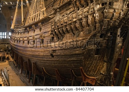 Photo of  Vasa warship. Swedish warship that was built from 1626 to 1628.