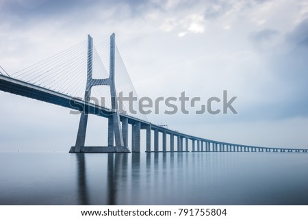 Vasco da Gama Bridge at sunrise in Lisbon, Portugal