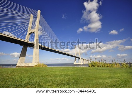 Vasco da Gama bridge, crossing the Tagus river, in Lisbon, Portugal - stock photo