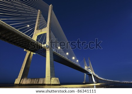 Vasco da Gama bridge in Lisbon by night, Portugal