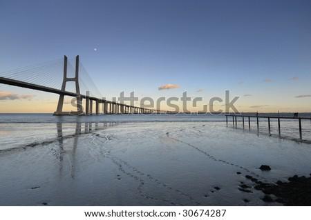 Vasco da Gama bridge in Lisbon Portugal #30674287