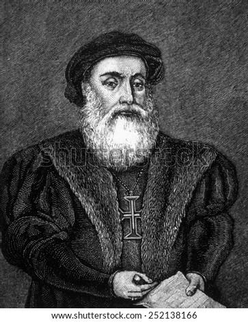 Vasco da Gama (ca. 1469-1524), engraving 1883 Foto stock ©